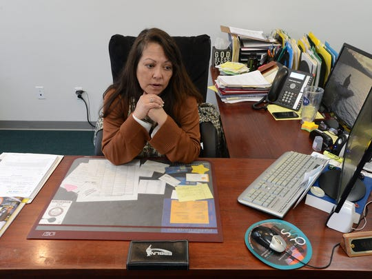 Maria Waller, president and owner of Quality Staffing Services in Salisbury, discusses the local job market in her office.