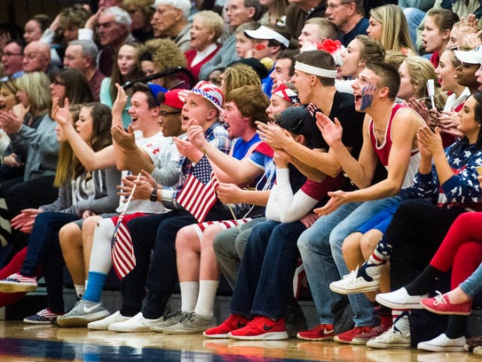 Spring Grove's student section cheers on the Rockets