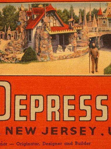 """Palace of Depression postcard. This amusement was known as """"The Strangest House in the World"""" and the """"Home of Junk"""" and was built as a testament of willpower against the effects ofThe Great Depression."""