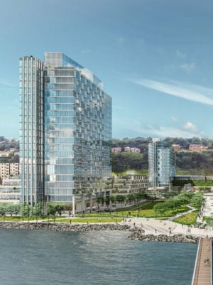 A rendering of a proposed 1,873-unit mixed use complex on the former Hess site.