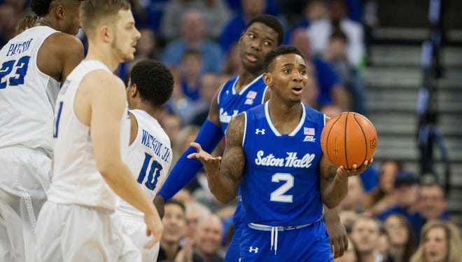 Seton Hall guard Jevon Thomas (2) reacts to being call for traveling at Creighton.