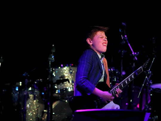 Toby Lee, 12, of the United Kingdom, performs a song during the 2018 International Blues Challenge at BB King's Blues Club. The young guitarist represented the UK Blues Federation in the Youth Division.