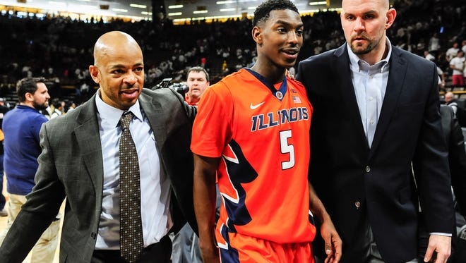 Illinois Fighting Illini guard Jalen Coleman-Lands (5) walks off the court after the game against the Iowa Hawkeyes at Carver-Hawkeye Arena on Feb. 18.