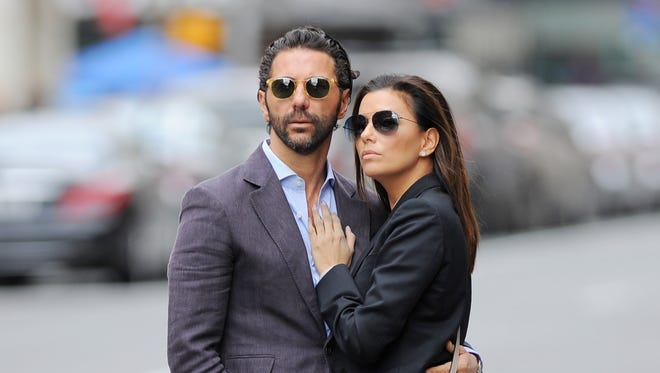 Eva Longoria and Jose Antonio Baston seen out in Soho waiting for a taxi on April 26, 2015 in New York.