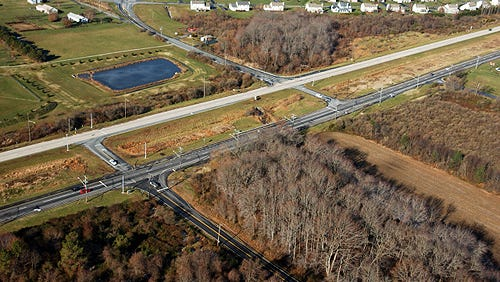 An aerial view of the Howell School Road interchange with Del. 896 and Denny Road.