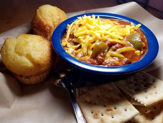 Famous Dave's chili starts with grilled chunks of hot link sausage and premium beef.