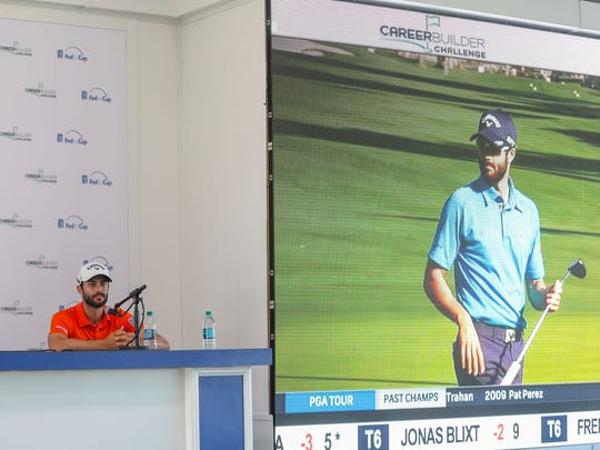 Adam Hadwin on TV appears to look back at Adam Hadwin in real life as he takes queations from the press at PGA West in La Quinta, January 17, 2018