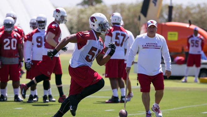 LB Kevin Minter during practice at the Arizona Cardinals Training Facility in Tempe on Tuesday, May 20, 2014.