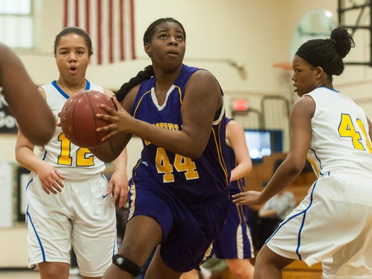 PLAYER TO WATCH: Crisfield's Stephanie Pinchback drives to the basket against Wicomico on Monday afternoon at Wicomico High. Head coach Greg Bozman says Pinchback is devloping into a double-double type player.