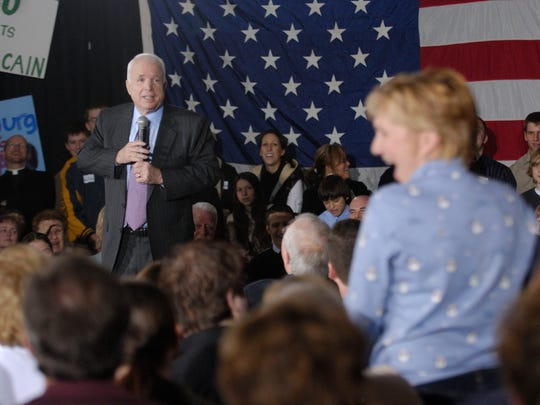 Presidential candidate John McCain answers questions from the audience at Crystal Gardens in Howell on January 13, 2008.