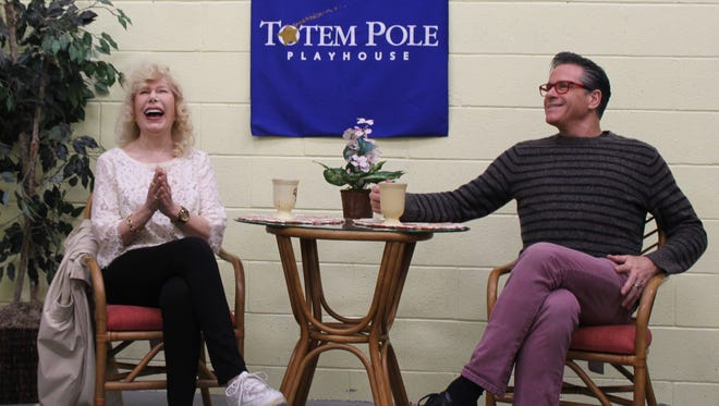 Loretta Swit, left, and David Engel, veteran actors who starred in Totem Pole Playhouse's 'Six Dance Lessons in Six Weeks' share a laugh at a May press conference. The opening night of the show on May 27 served as a fundraiser for the Central PA Animal Alliance.