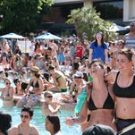 Hundreds of women gathered around the pool at the Hilton Palm Springs last year. Thousands of lesbians come to Palm Springs every year for The Dinah Weekend, a music festival. This year The Dinah will be April 1-5.