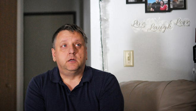 Jerry Hartsworm talks Dec. 3 in his Melrose home about struggles in his life. Hartsworm was injured while fighting a fire May 3 in Oak Township. He suffers from a traumatic brain injury and post-traumatic stress disorder.