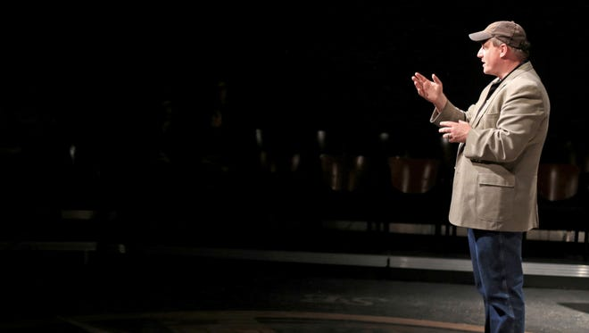 """Michael Harding, artistic director of the Second Act New Works Festival, introduces the festival's concept on Feb. 16 before a reading of """"The Process"""" by Sue Lange at Dixie State University's Eccles Black Box Theater."""
