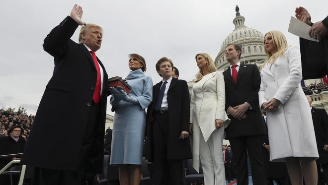 President Donald Trump getting sworn in Jan. 20, 2017