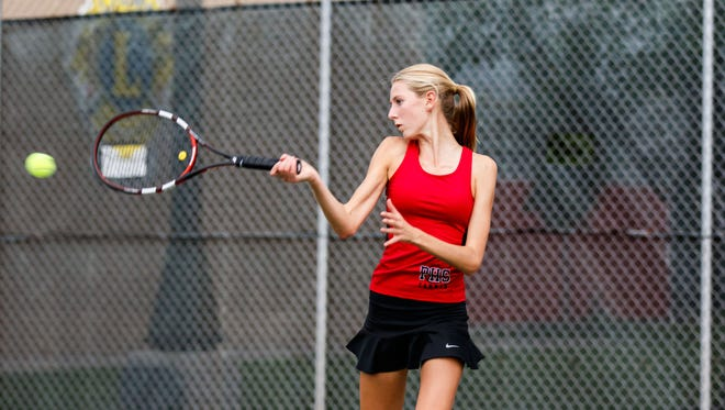 Pewaukee No. 2 singles player Brooke Jende covers the baseline during a match at Hamilton on Monday, Sept. 19, 2016.