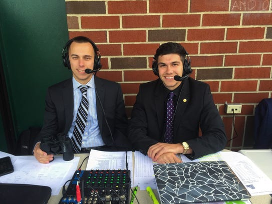 Greg Camillone is joined by James Payne (left) for a live broadcast of the GNAC women's soccer championship game that included Lasell College.
