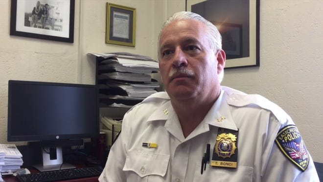 Eastchester Police Chief Timothy Bonci speaks about a recent drug overdose on July 20, 2016