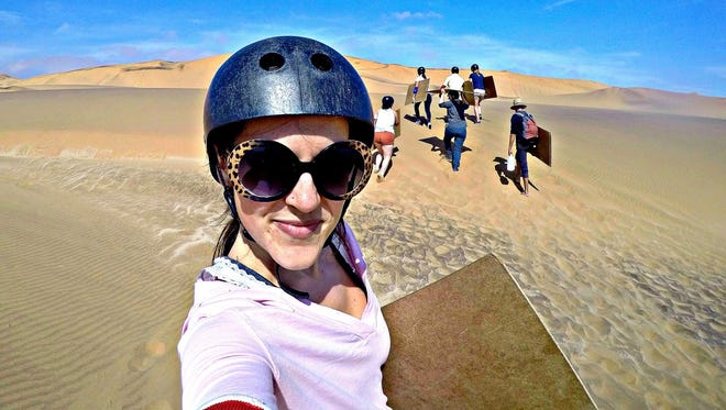 A GoPro selfie: sandboarding in Namibia.