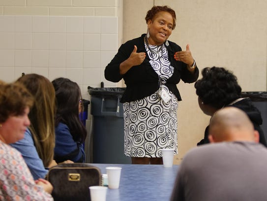 Veronica Wilkie, principal of Hanby Elementary, gives