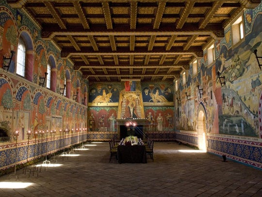 The Castello's Great Hall features a 22-foot-high coffered ceiling featuring hand-painted frescoes as well a 500- year-old fireplace.