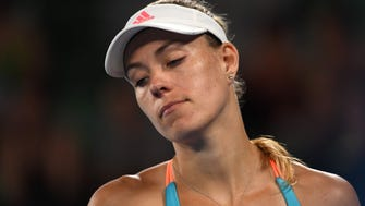 Germany's Angelique Kerber reacts after a point against Coco Vandeweghe of the US during their women's singles fourth round match on day seven of the Australian Open tennis tournament in Melbourne on Jan. 22.