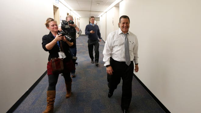 Assembly Majority Leader Joseph Morelle, D-Rochester, walks out of his office at the Legislative Office Building in Albany.