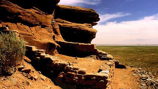 Homolovi State Park protects ancient pueblo sites near the Little Colorado River.
