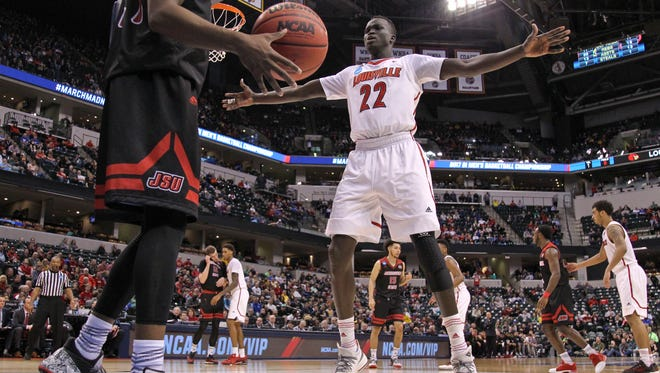 Louisville's Deng Adel looks to guard the inbound pass during the Cardinals' 78-63 win over Jacksonville State Friday in Indianapolis at the NCAA tournament.