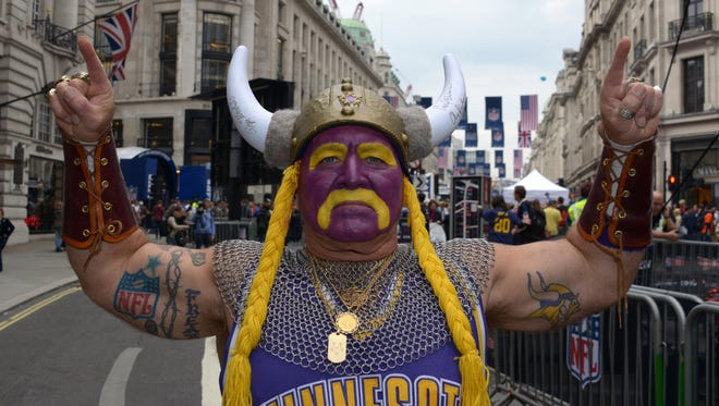Minnesota Vikings fan Syd Davy aka 100 percent Cheese-Free poses at the NFL on Regent Street block party in advance of the NFL International Series game between the Pittsburgh Steelers and the Vikings.