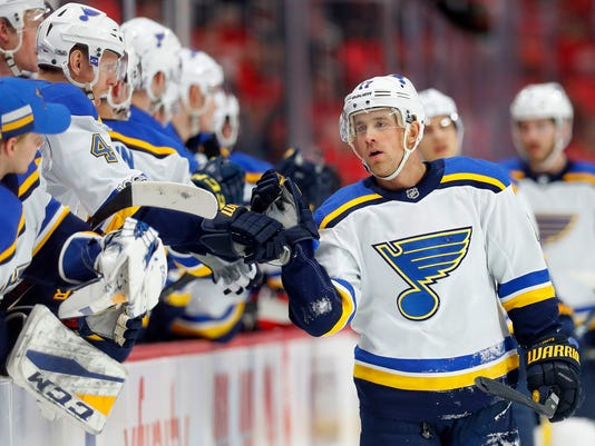 St. Louis Blues left wing Jaden Schwartz (17) celebrates his goal against the Detroit Red Wings in the first period of an NHL hockey game, Saturday, Dec. 9, 2017, in Detroit. (AP Photo/Paul Sancya)