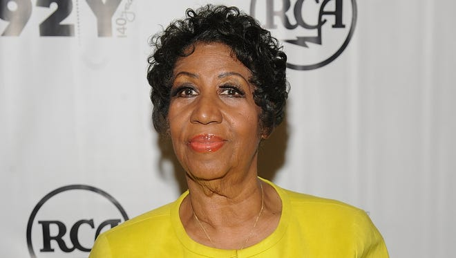 """Aretha Franklin attends the 92Y Presents Aretha Franklin and Clive Davis In Conversation at the 92nd St. Y in New York on Oct. 1, 2014. Franklin, in a statement to the Associated Press on Tuesday, called David Ritz's unauthorized biography, """"Respect: The Life of Aretha Franklin,"""" a """"trashy book."""""""
