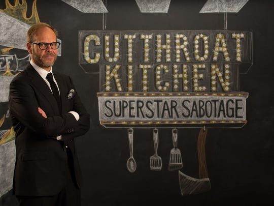 Alton Brown, Host of Food Network's Cutthroat Kitchen Superstar Sabotage, was seen eating at the Rooster and the Pig in Palm Springs.