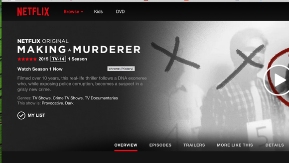 "The 10-episode documentary, ""Making a Murderer,"" is"