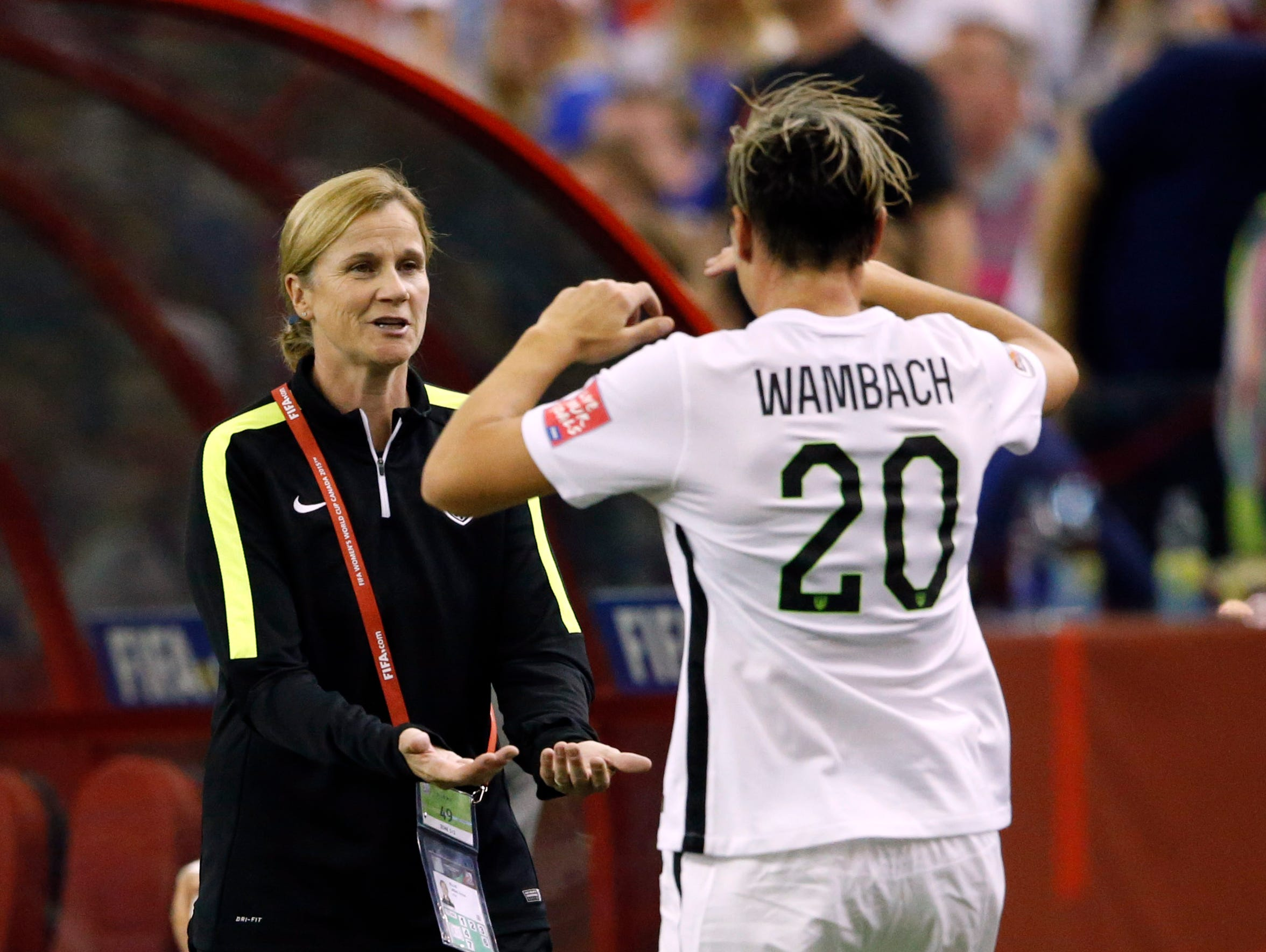 U.S. soccer coach Jill Ellis, left, and star player