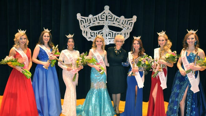 From left: Morgan Harrar, Miss Susquehanna Valley's Outstanding Teen; Natalie Shawley, Miss White Rose City's Outstanding Teen; Michelle Nelson, Miss York County; Kaley Leas, Miss York County's Outstanding Teen; Nicole McCleary, Miss First Capital; Rebecca Potts, Miss Susquehanna Valley; Abigail Bachman, Miss White Rose City.