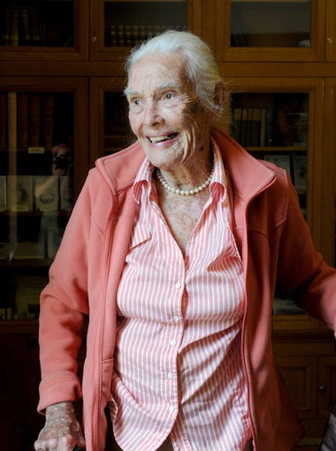Joanna Bard Newton, 100, walks around the Bard Mansion, where her grandmother lived. The mansion is located inside Naval Base Ventura County in Port Hueneme. She is the daughter of Richard Bard and granddaughter of Thomas Bard, the founders of Port Hueneme.