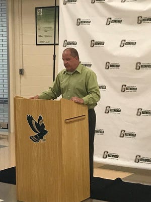 Greenfield head coach Bill Jaskulski speaks at an introductory meeting with players and parents on July 9, 2018 at Greenfield High School.