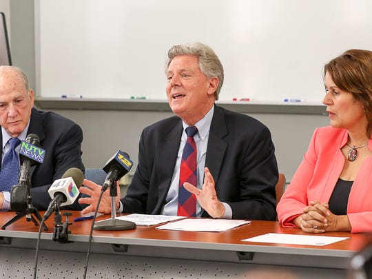 From left, Rutgers University President Robert L. Barchi, U.S. Rep. Frank Pallone and Perth Amboy Mayor Wilda Diaz at a news conference at Rutgers University's Labor Education Center in New Brunswick on September 5, 2017, call on President Donald Trump to preserve the DACA program.