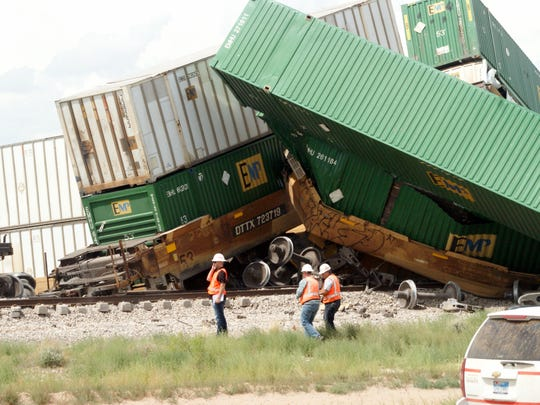 Crewmen were on the scene of a Union Pacific train derailment west of Deming investigating the cause and organizing a clean-up detail.