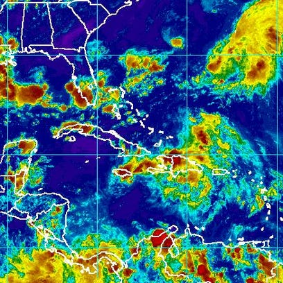 Satellite imagery of the Caribbean at 6 p.m. Aug. 25.