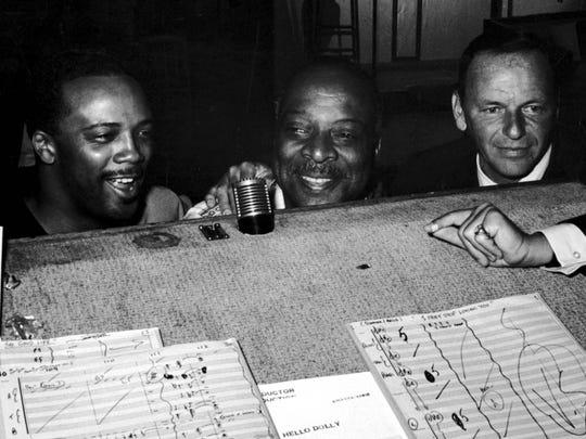 Quincy Jones, Count Basie and Frank Sinatra in the studio in 1964.