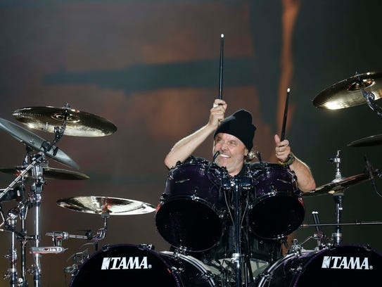 Drummer Lars Ulrich performs with Metallica on Friday,