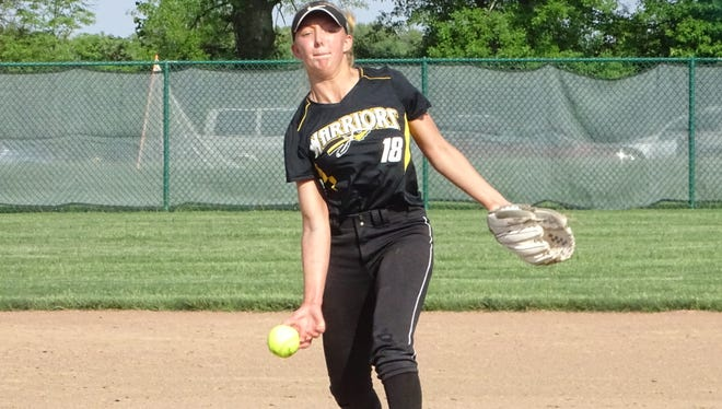 Watkins Memorial senior Carly Brandon pitches Monday against Pickerington Central during a Division I district semifinal. Brandon struck out 22 in a 3-1 10-inning loss.