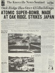 The Aug. 6, 1945 edition of the Knoxville News Sentinel reports the dropping of the first atomic bomb. (KNS Archive)