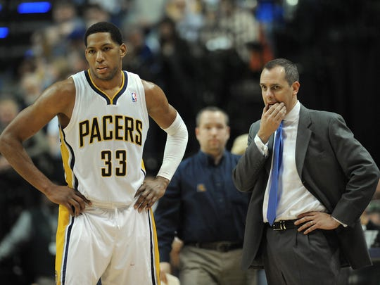 Indiana Pacers Danny Granger,left, and head coach Frank Vogel look on as they fell behind the 76'ers in the second half of their game Saturday night at Bankers Life Fieldhouse. Matt Kryger / The Star