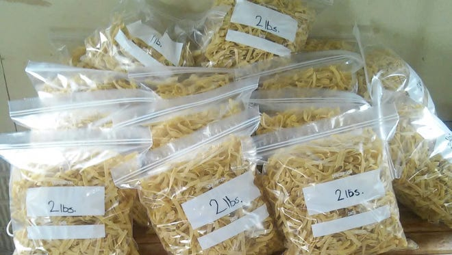The Eichers made homemade noodles for next week's wedding.