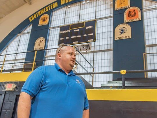 Battle Creek Public Schools Facilities, Operations and Technology Director Chad Osborn is coordinating the efforts to revitalize the Battle Creek Central Fieldhouse.