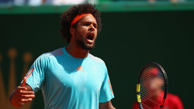 Jo-Wilfried Tsonga of  France shows his frustration during his three-set loss to Adrian Mannarino of France in the second round of the Monte Carlo Masters.