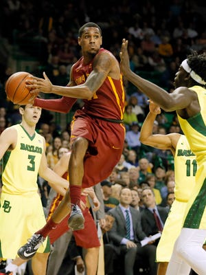 Iowa State's Monte Morris passes against Baylor on Feb. 16, 2016 in Waco, Texas.